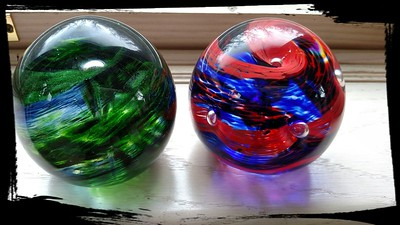 Livi's Sparkle Green and Blue paper weight, and Wyatt's Capt. America w Bubbles.