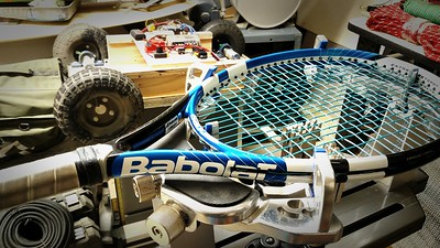 Sam W's racquet, restrung. Very big, and light, racquet this. Used fav string.