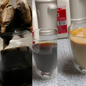 Rest soaked coffee bags on the rim to drip dry, add 3 cups filtered H2O, enjoy