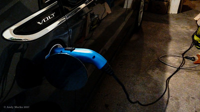 "It's my ""new"" '13 Chevy Volt charging from our new 220 V / 20 A circuit"