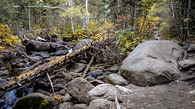 Creek, boulders, and trail, L->R