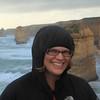 Nikki battling the wind at the 12 Apostles