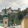 Festung Hohensalzburg up on the hill. There's a furnicular for 11 euros each, but we're young and strong and saved the money by walking.