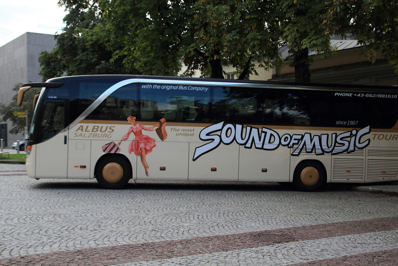 One of the two thousand Sound of Music tour buses in the city. They probably have a special express lane for Sound of Music tour buses.