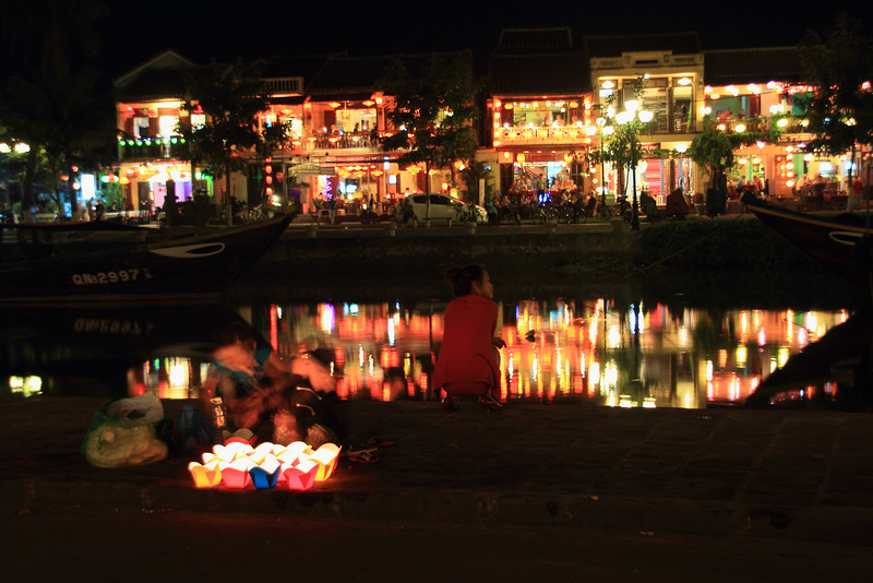 The river at night. You can buy those candle boats to float down the river.