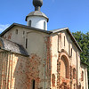Church of St. Parasceva on the Marketplace. The area across the river, known as Yaroslav's Courtyard, was the former commercial center of the city. This church dates back to 1207
