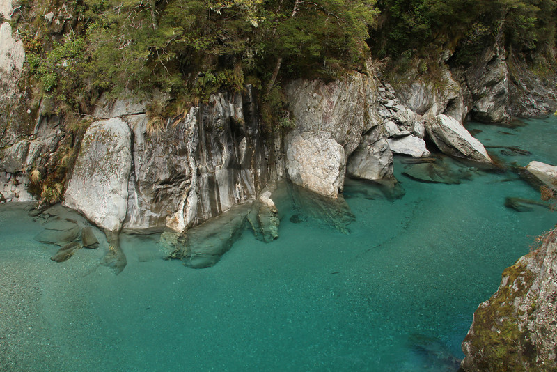 The Blue Pools in Mount Aspiring National Park. Very clear, and very blue.