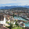 Looking down on Lucerne from the remnants of the old town wall.