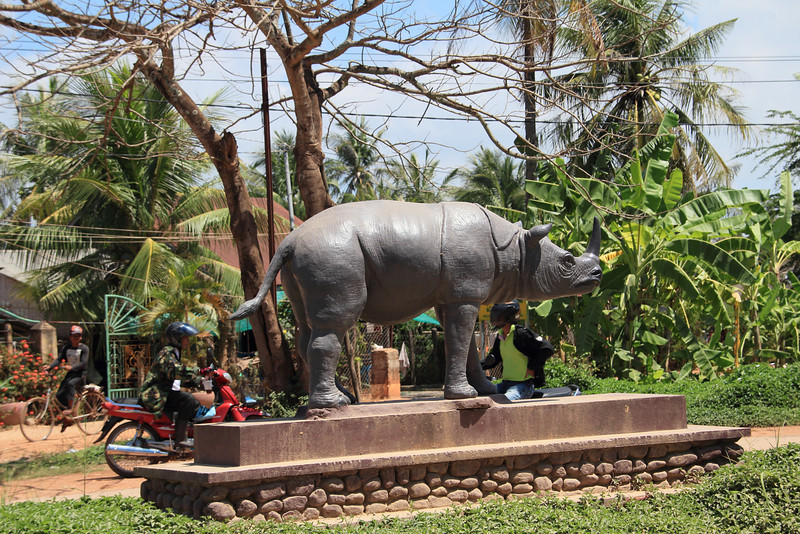 Rhino statue on our way to the cave temples.