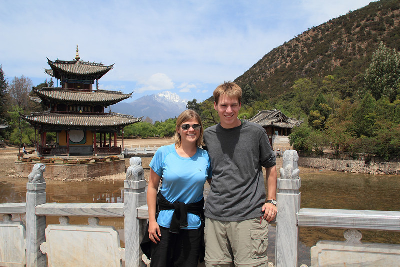 At the Black Dragon Pool, with Jade Dragon Snow Mountain in the background