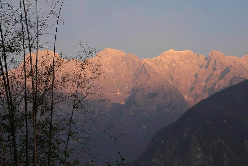 Jade Dragon Snow Mountains at sunset