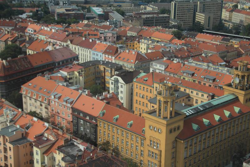 Looking down on Prague
