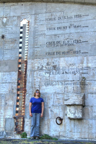 High water marks in Tours. There's a history of this river severely flooding! Note that Nikki's standing about 15 feet higher than the current water level