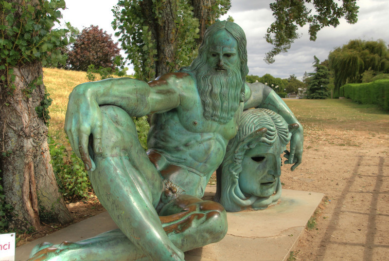 A statue of Leonardo de Vinci. I didn't picture him so strong or looking like a god.