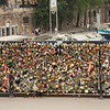 Pont de l'Archevêché padlocks. It's funny, on Google Street View the fence doesn't have any locks.