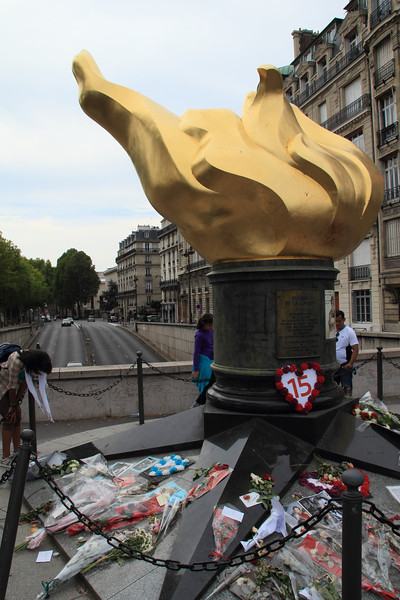 A replica of Liberty's flame, created about ten years before the Princess Diana crash. Strangely enough, this was right where she died, so the monument now is significant in a different way.