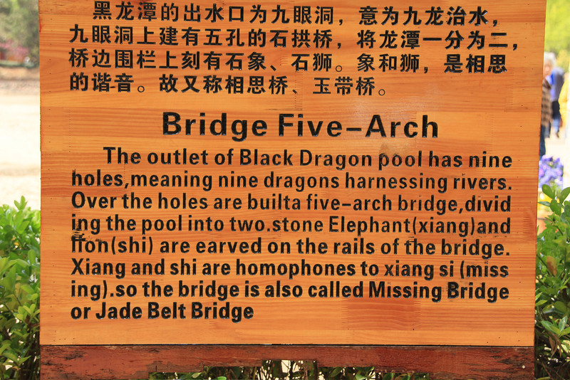 """The outlet of Black Dragon pool has nine holes,meaning nine dragons harnessing rivers. Over the holes are builta five-arch bridge,divid ing the pool into two.stone Elephant(xiang)and ifon(shi) are earved on the rails of the bridge. Xiang and shi are homophones to xiang si (miss ing).so the bridge is also called Missing Bridge or Jade Belt Bridge"""