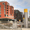 Trendy HafenCity houses on a pier