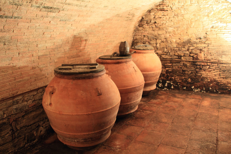 They also make olive oil, and these were the vessels that were once used for making that. However, more recent standards require stainless steel be used instead.
