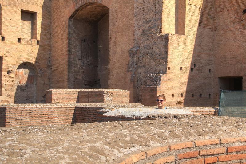 Peeking over the ruins