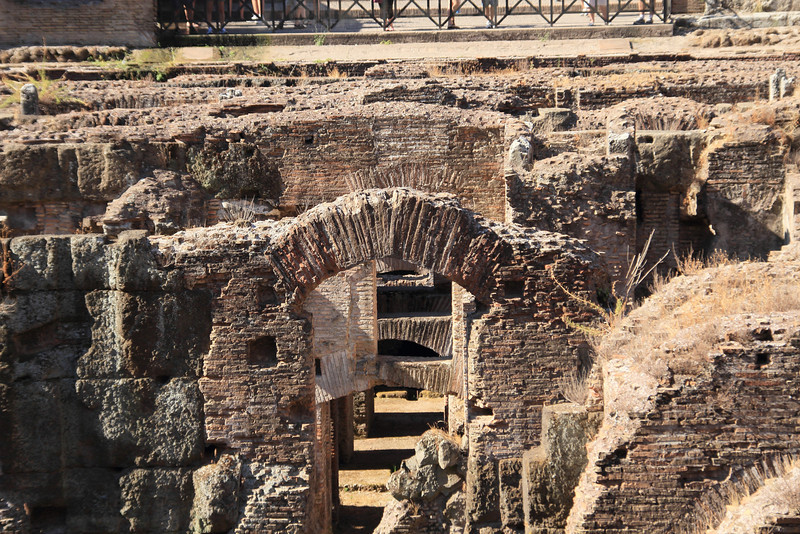 The staging area of the Colosseum. There were trap doors and rising cages for releasing the animals into the arena
