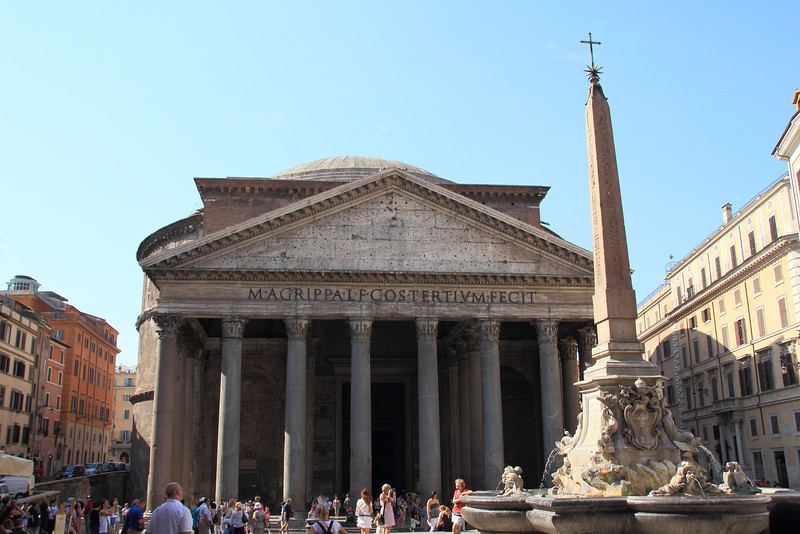 The Pantheon. It's the only building still in use from ancient Rome (completed in 126AD). Originally it was a temple to the gods, but the Catholic Church since took it over. Painter Raphael is buried here.