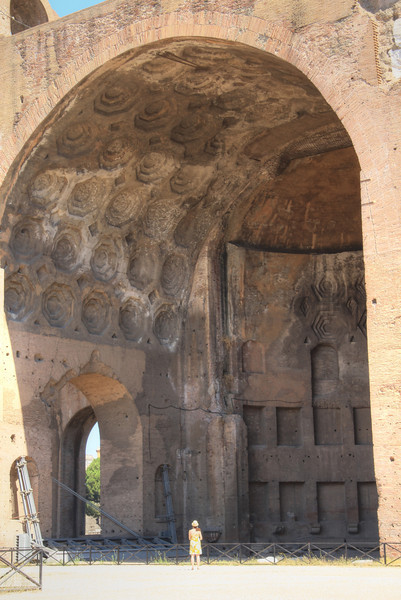 The Basilica of Maxentius and Constantine. It was the largest building in the Forum. Completed in 312, it was mostly destroyed in an earthquake in 847.