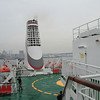 Top deck on a rainy, foggy day