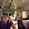 In the dining car. The food wasn't great, but they had cheap beer.