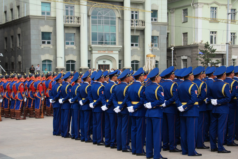The day we were leaving on the train to Moscow was also the first day of Naadam. At the hostel they told us to go down to the square, because there was a big military parade. I was thinking tanks and missiles on trucks, but there wasn't any of that. But it was still neat.
