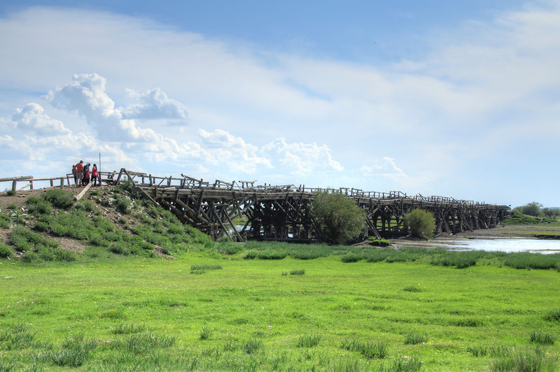On our trip out to White Lake in west-central Mongolia, we came across a very large, homemade-looking bridge