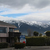 Our hostel, with the mountains nearby