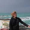 Nikki up on the Kaikoura Peninsula. The wind was fierce!
