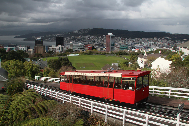Cable car that we rode up on. Wellington is below, under some ominous clouds...
