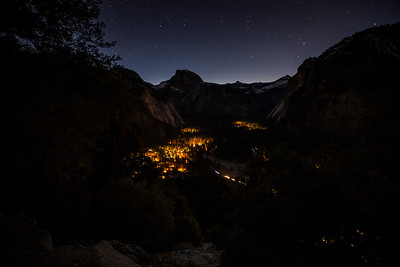 Yosemite village at night
