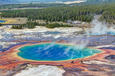 Grand Prismatic Spring from a near by hillside
