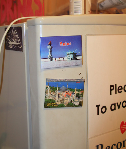 In our hostel in St. Petersburg, we saw this familiar fridge magnet from Madison!
