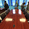The microphones on the table mark the border between North Korea and South. I technically have one foot in both countries at the moment.