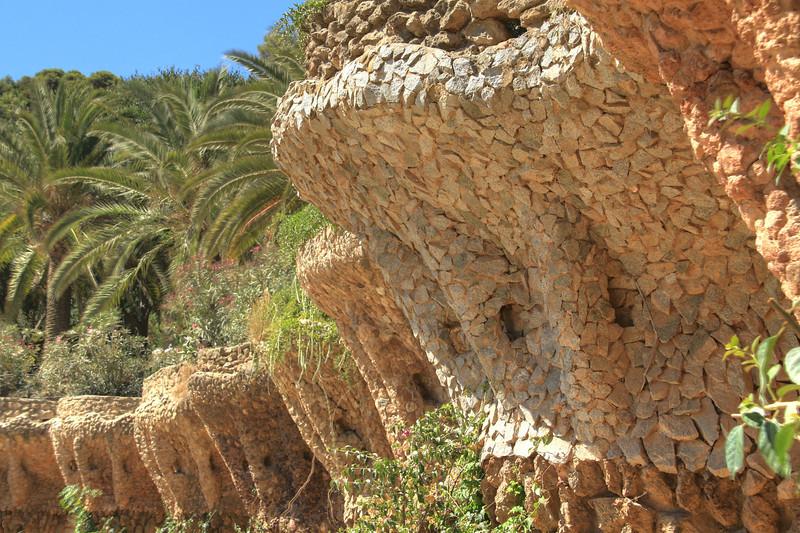 Parc Güell terrace walls. This park was designed by Antoni Gaudí
