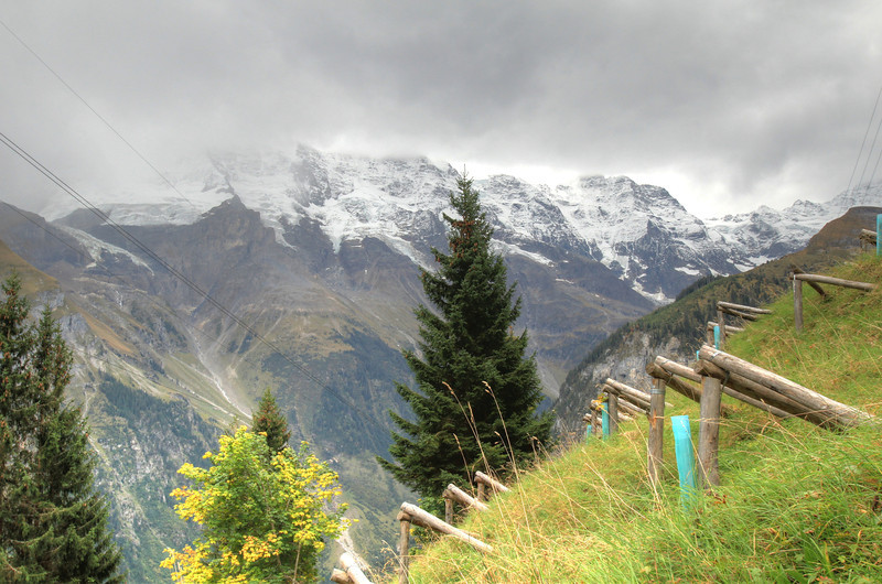 On the path between Gimmelwald and Mürren. Those three-post things are for avalanche prevention