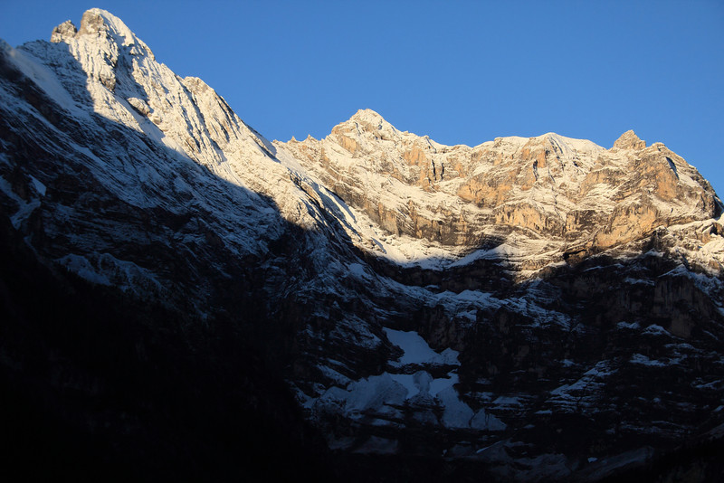 Sunrise in the Bernese Alps and perfectly clear