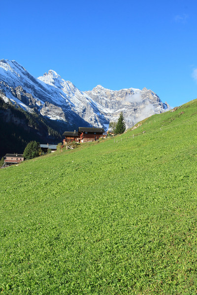 Beginning our five-hour hike in Gimmelwald