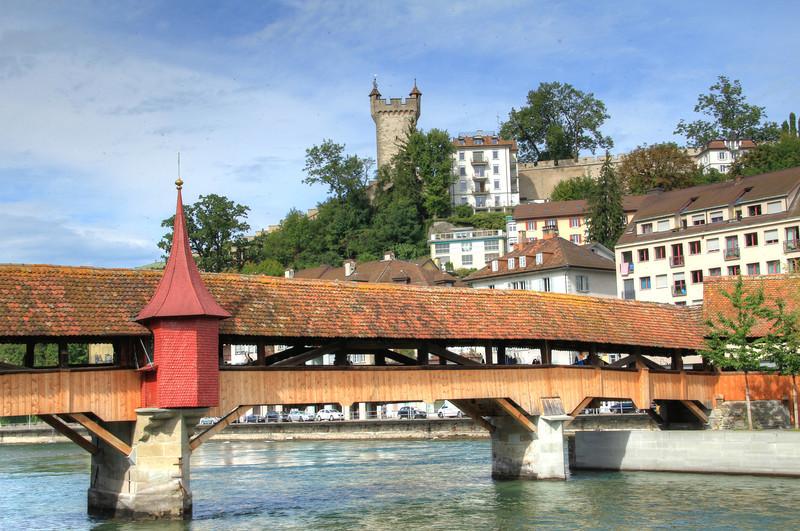 Mill Bridge. Built in 1405, it's the oldest covered bridge in Europe.