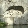 "The lion monument, dedicated to the Swiss Guards who were killed in the French Revolution when the Tuileries Palace was stomed in Paris.<br /> <br /> Mark Twain called the sculpture ""the most mournful and moving piece of stone in the world."""