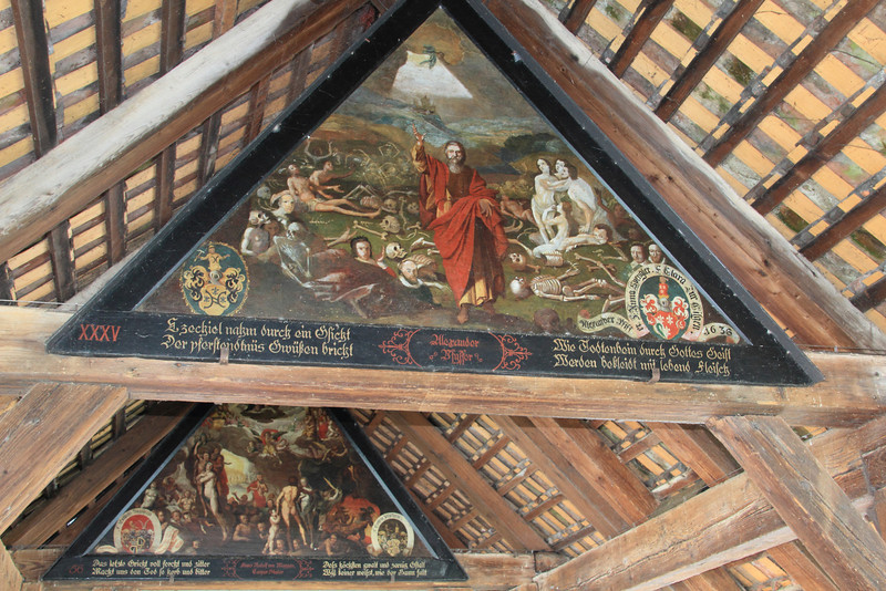 Paintings inside the Mill Bridge entitled Dance of Death. The paintings depict the Plague and Death coming to many people from the area.