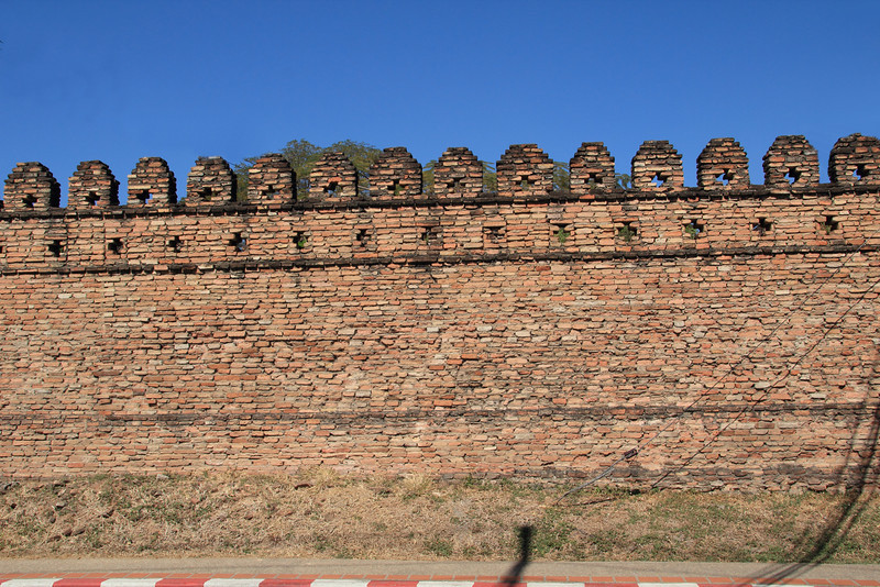 The remnants of the old city wall. For most of where the wall once was, only the moat remains as median in the road.
