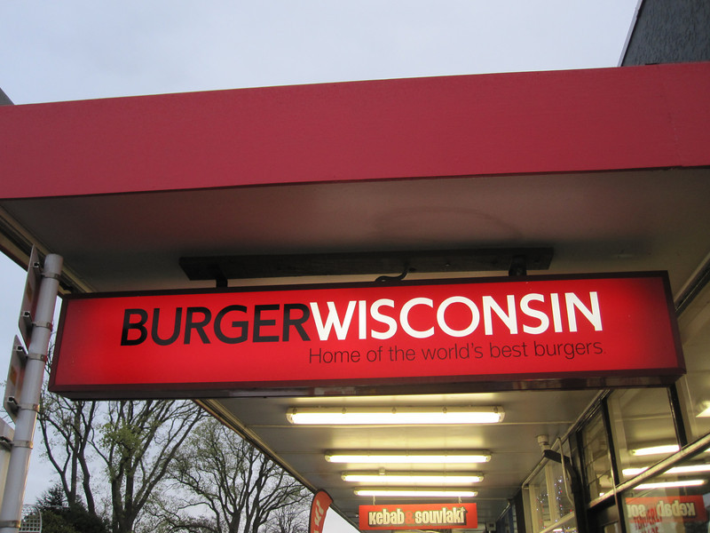 Burger Wisconsin, a fast food chain in New Zealand. They make pretty good burgers, but we'd never think about putting beetroot on ours.