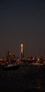 Dusk city views from from St Kilda Pier