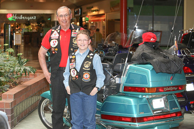 Ron Devier of Dalton made the trip to the Scottsbluff Monument Mall on Saturday. His grandson Riley (11) rode on the bike for the first time.