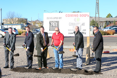 Left to right: Zac Karpf (Platte Valley Companies), John Marshall (Platte Valley Companies), Tony Kaufman (Gering Mayor), Dan Smith (Gering City Council), Brian Wogernese (President Cobblestone Hotels), Jeremy Griesbach (President of Development BriMark Builders)